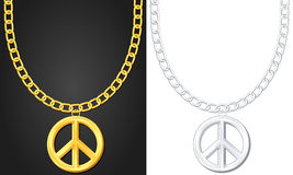 Necklace with peace symbol Royalty Free Stock Image