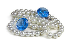 Necklace of pearls. And blue diamond  on white background Stock Photo