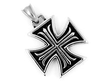 Necklace Pendant Maltese Cross - Stainless steel Stock Photos