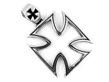 Necklace Pendant Maltese Cross - Stainless steel Stock Photography