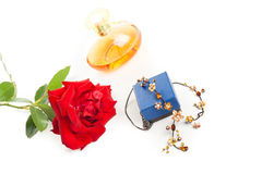 Necklace perfume and rose Royalty Free Stock Photos