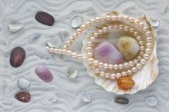 Necklace from pink pearls Royalty Free Stock Photos