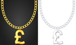Necklace with pound symbol Royalty Free Stock Image