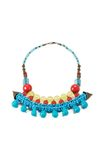 Necklace with red blue and yellow beads Stock Images