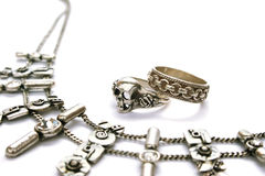 Necklace and rings Stock Images