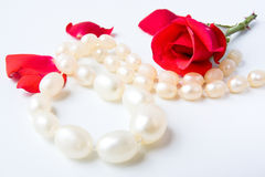 Necklace and roses Royalty Free Stock Photography