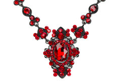 Necklace with rubies. Close-up. Royalty Free Stock Photography
