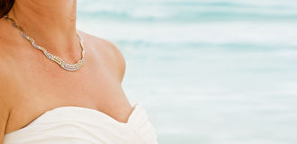 Necklace and sea Stock Photography