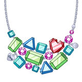 Necklace with silver chains and gemstones. Royalty Free Stock Images