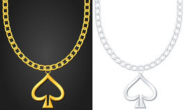 Necklace with spade symbol Stock Image