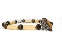 Necklace tiger's eye gemstone and silverware Royalty Free Stock Photography