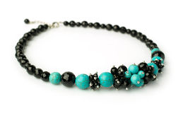 Necklace of turquoise and black onyx Stock Image