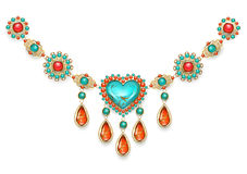 Necklace with turquoise heart Royalty Free Stock Photography