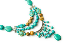 Necklace of turquoise and jasper Stock Photo