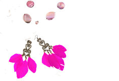 Necklace for women earrings with feathers pink white background Stock Image