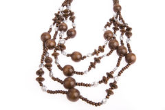 Necklace of wooden Stock Images