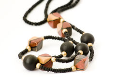 Necklace of wooden beads Stock Images