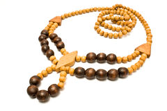Necklace with wooden beads Royalty Free Stock Photos