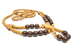 Necklace with wooden beads isolated on white stock photo