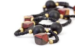 Necklace of wooden beads Royalty Free Stock Photo