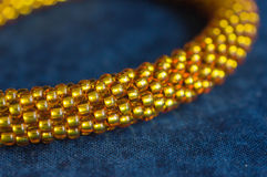 Necklace from yellow transparent beads Royalty Free Stock Image