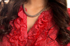 Necklace on young lady's neck. Royalty Free Stock Photo
