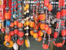 Necklaces. Tibetan Jewellery in China. Near Litang Stock Photo