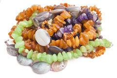 Necklaces from amber, agate and disgraces Stock Photography