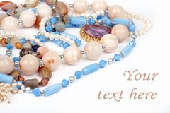 Necklaces jewelry, brooch, pearls Royalty Free Stock Images