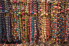 Necklaces made of natural coloured seeds Royalty Free Stock Photos