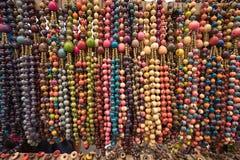 Necklaces made of natural coloured seeds. In the Otavalo artisan market Ecuador Royalty Free Stock Photos