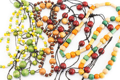 Necklaces made of wooden beads Royalty Free Stock Images