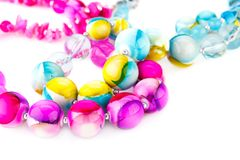 Necklaces. With beads isolated on white background Stock Photography