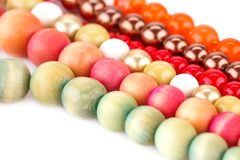 Necklaces. With colorful beads closeup picture Royalty Free Stock Photo