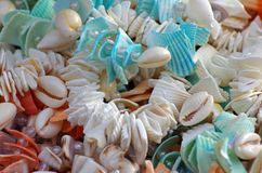 Necklaces of shells background Royalty Free Stock Images