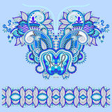 Neckline blue ornate floral paisley embroidery fashion design Royalty Free Stock Images