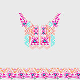 Neckline design with border in ethnic style for fashion. Aztec neck print. Electro boho color trend Royalty Free Stock Image