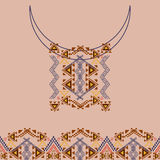 Neckline design with border in ethnic style for fashion. Aztec neck print. Vector tribal embellishment. Ethnic native american indian ornaments Royalty Free Stock Photo