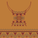 Neckline design with border in ethnic style for fashion. Aztec neck print Stock Images