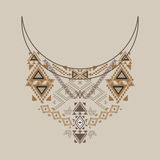 Neckline design in ethnic style for fashion. Aztec neck print. Vector tribal embellishment Stock Image