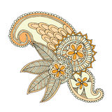 Neckline embroidery design. Floral ornamented pattern. Hand draw line art ornate flower design Stock Photography