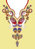 Neckline embroidery fashion. With flower and bird Royalty Free Stock Photography