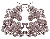 Neckline embroidery fashion Royalty Free Stock Images