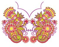 Neckline embroidery fashion. Hand draw floral neckline embroidery fashion Stock Images