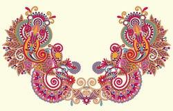 Neckline embroidery fashion. Neckline floral decorative embroidery fashion, vector illustration Stock Image