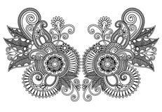 Neckline embroidery fashion. Ornamental floral neckline embroidery fashion Stock Images