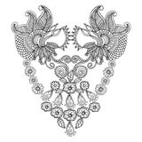 Neckline embroidery square pattern design Royalty Free Stock Photos