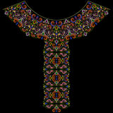 Neckline ethnic design. Geometric bohemian  pattern. Vector colorful traditional print with decorative elements and paisley for embroidery Royalty Free Stock Photo