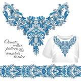 Neckline hafciarska moda, druk, wystrój, koronka, Paisley, akcyjny wektor Luksus kwitnie kołnierza designe royalty ilustracja