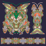 Neckline ornate floral paisley embroidery fashion design, ukrain Stock Image